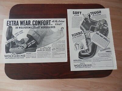 Lot of 2 1936 Vintage Print Ads, Wolverine Shell Horsehide Work Shoes