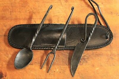 Genuine Hand Wrought Iron Medieval Dining Feasting Utensils 3 PC  Leather Pouch