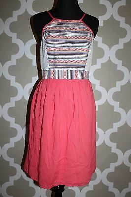 53256065c21 NWT Flying Tomato Coral White Print Lace Bodice Cotton Blend Dress Large