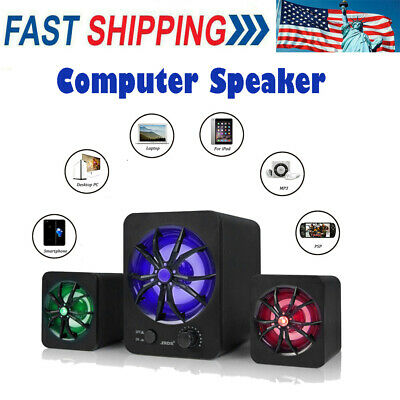 Wired USB Computer Speakers Stereo Super Bass Music Colorful LED For PC Laptop