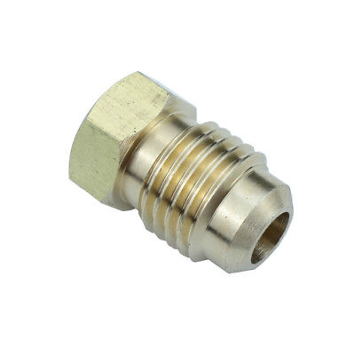 "Brass Flare Pipe Fitting Plug 1/4"" Tube OD SAE 45 Deg Flare"
