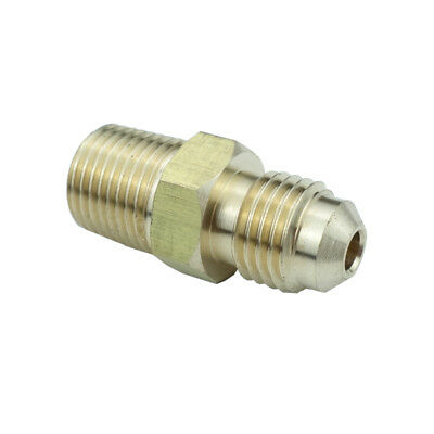 "Brass SAE Flare Pipe Fitting Male Connector 1/4"" OD 45 Deg Flare * 1/4"" NPT"