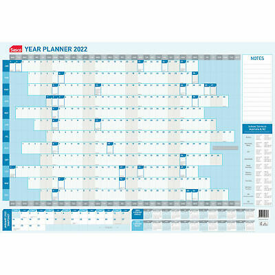 Sasco 2019 / 2020 Financial Year Yearly Wall Planner 870 x 610mm With Pen Kit