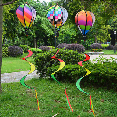 Hot Air Balloon Wind Spinner with Rainbow Stripe Garden Yard Outdoor Decorat JQY