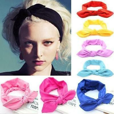 Women Yoga Elastic Cute Bow Hairband Turban Knotted Rabbit Hair Band Headband QY