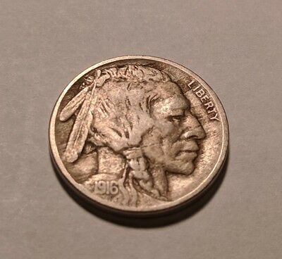 1916 Buffalo Nickel USA Indian 5 Cents. Full Date Partial Horn Free NA shipping