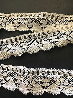 """Antique French Lace Remnant Trim Edging for Dolls Crafts Textiles 22"""" DIY"""