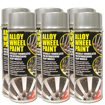 6x Metallic Silver E-Tech Alloy Wheel Paint 400ml - Chip Resistant
