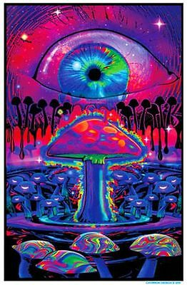 Mushroom Ripple - Blacklight Poster - 23X35 Flocked Magic Eye 1969