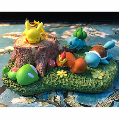 Pokemon Bulbasaur Squirtle Pikachu Sleeping Figure Toy Micro Landscape With Base