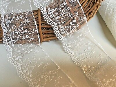 """Very Pretty and Delicate 2""""/cm Ivory Embroidered Tulle Lace Trim. Bridal/Sewing"""