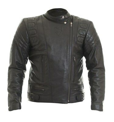 New Wolf Euro  Leather Motorcycle Motorbike Jacket Black 2420 Cafe Racer Look