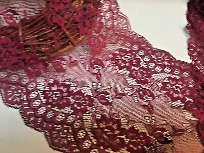 Beautiful 7inch/18cm Burgundy Galloon Flat Tulle Lace Trim. Bridal/Sewing