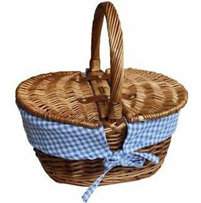 Childs Light Steamed Finish Blue Check Oval Picnic Basket