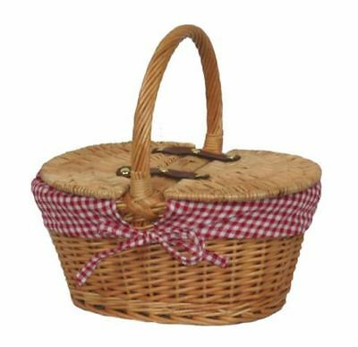 Child's Lined Oval Lidded Picnic Basket