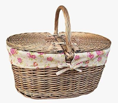 Deep Antique Wash Oval Picnic Basket With Rose Lining 50x35x35 with handle(h)cm