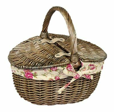 Antique Wash Double Lidded oval Picnic Basket Garden Rose Lining, wic
