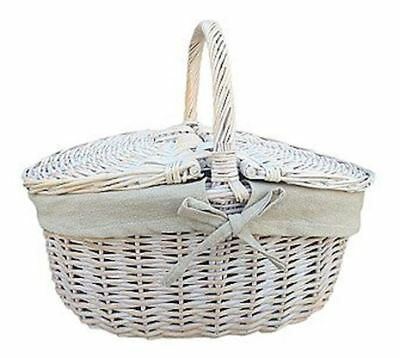White Washed Finish Wicker Oval Picnic Basket - Oatmeal Lining, Approximate Bask