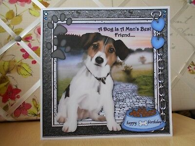 Handmade Jack Russell Birthday Card Dog Puppy Happy Greetings Large