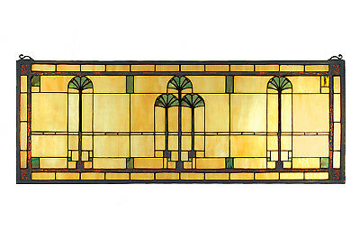 """Meyda Lighting 35""""W X 13""""H Ginkgo Stained Glass Window Arts and Crafts Inspired"""