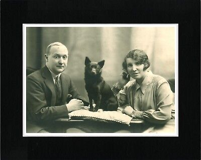 Schipperke And Owners Lovely Vintage Style Dog Photo Print Matted Ready To Frame