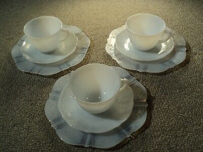 9 Vintage Blue Azurite Opaline Milk Glass-3 Cups & 3 Saucers & 3 Lunch Plates