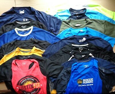 16 Lot Under Armour NIKE Brooks Athletic Running Fitness T Shirts Tank Mens M L