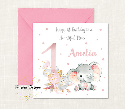 Personalised Cute Bunny 1st Birthday Card Daughter Granddaughter