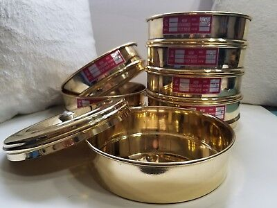 Heavy Brass Gauge Standard Testing 6 Set Sieve w/ Lid & Catch Pan USA Shipping