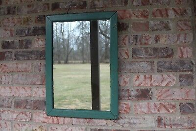"Antique Hanging Mirror Old Green Paint Wooden Frame Mirror Patina 20.5"" x 14.5"""