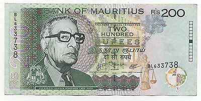 Mauritius 200 Rupees 2010 Pick 61 Look Scans