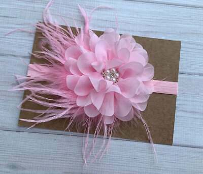 Vintage Pink Flower with Feather Baby Toddler Girl Headband