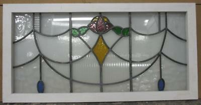 """OLD ENGLISH LEADED STAINED GLASS WINDOW TRANSOM Floral w/ Diamond 39.5"""" x 20"""""""