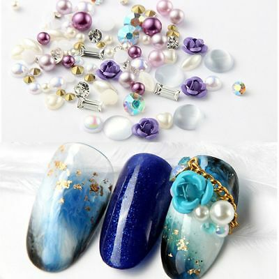 New Nail Art 3D DIY Rose Jewelry Gems Mix Nail Art Decoration Glitter Rhinestone