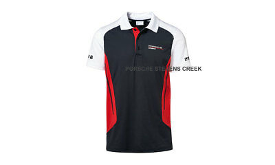 Porsche MOTORSPORT Men Polo Shirt Black Red White Porsche Design Breatheable