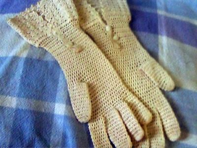 Antique Pair Of White  Crochet Lace Gloves With French Cuffs