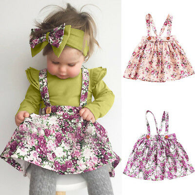 Princess Baby Kids Girls Floral Dress Cotton Suspender Skirts Party Tutu Dress