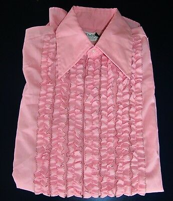 Men's Pink & Black Ruffled Tuxedo Prom Shirt Delton Size 15 Neck  32 Sleeve Med