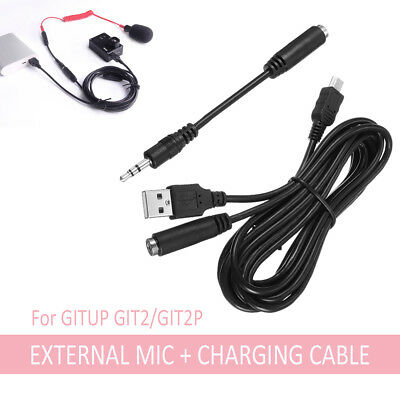 Mini USB 3.5mm External Microphone And Charging Cable For GITUP GIT2/GIT2P