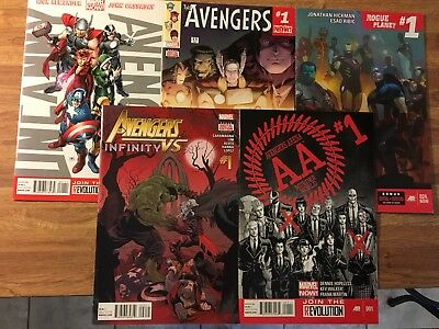 Avengers #1 (Lot of 5) 1st Issues~Vs Infinity #1 Recalled Misprint~Infinity War!