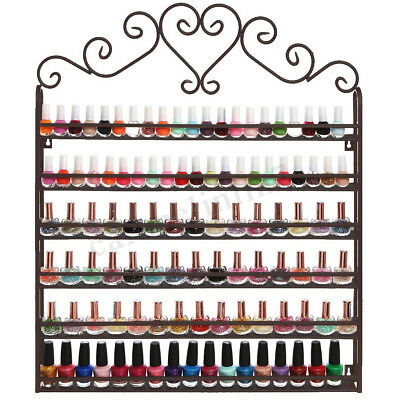 6 Tier Metal Mounted Nail Polish Organizer Display Holder Wall Shelf Holder Rack