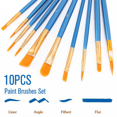 Artist Paint Brushes Set Kit Watercolour Acrylic Oil Painting Face Craft 10PC