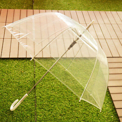 US Large Clear Dome Transparent Umbrella Cute Brolly Ladies Wedding Party Decor