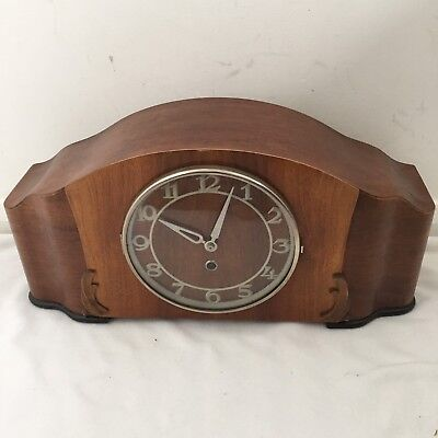 "Feinmechanik Vintage Free Standing Mantel Wooden Clock Glass Clock Face 9"" High"