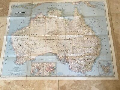 National Geographic Society Sheet Map Australia with Tasmania March 1948