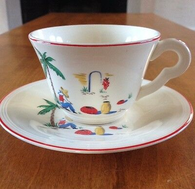 Vintage Edwin Knowles SLEEPING MEXICAN  Pattern Coffee Cup and Saucer Dated 1939