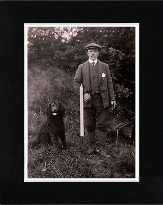 Irish Water Spaniel And Man With Gun Vintage Style Dog Photo Print Ready Matted