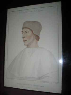 John Colet Founder and Dean of St Paul's School in London Original Rare Etching