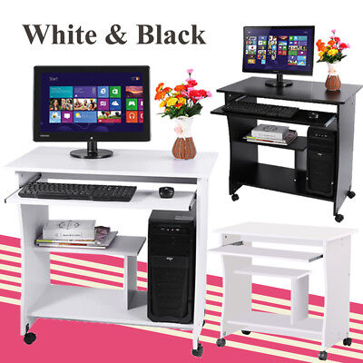 Mobile Computer Desk Workstation PC Table Home Office Furniture with 4 Wheels