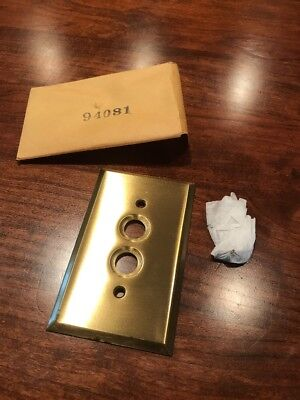 Vintage Solid Heavy Brass Push/Push Button Switch Plate Cover (TARNISH STARTING)
